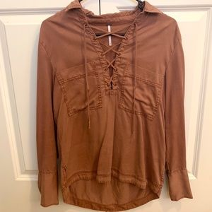Free People Burnt Orange Long Sleeve Blouse